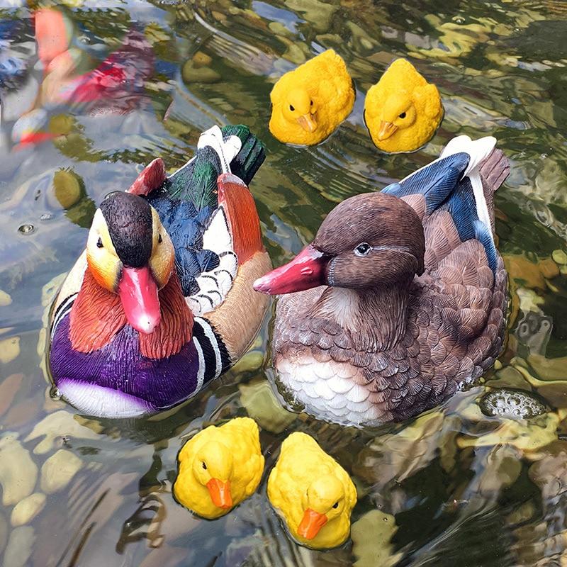 Model Duck Garden Courtyard Decoration Pool Fish Pond Hotel Furnishings Resin Animal Floating Mandarin Duck Decoration
