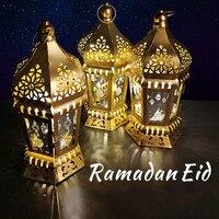 2020 neue Eid Metall LED Laterne Ramadan Dekoration Eid Mubarak Islamischen Muslimischen Lichter Festival Party Decor Liefert