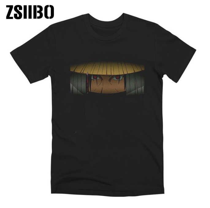 Akatsuki Itachi Uchiha anime Giapponese naruto stampa t-shirt con il rosso allievo modello di disegno scuro vento manica corta da uomo Harajuku top