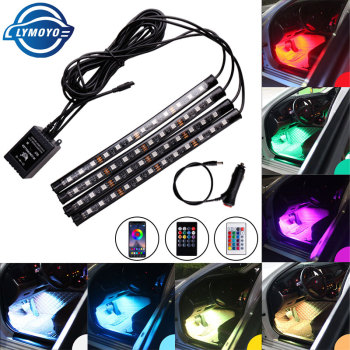 Car styling Foot Light Interior Wireless Remote/Music/Voice Control Decoration Light Cigarette LED Atmosphere RGB LampStrip 1