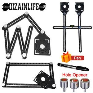 Finder Template-Tool Drill-Guide Measuring-Ruler Locator Tile-Hole Aluminium-Alloy 6-Fold