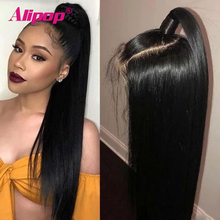 Wig Human-Hair Swiss-Lace Lace-Front Pre-Plucked 13X6 Straight Black Women Alipop