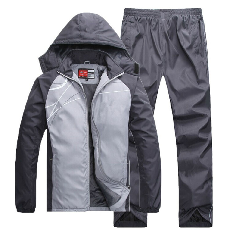 3359 Winter Thick Male Suit Casual Sports Suit Cardigan Pants Running Sports Clothing Men Cotton Set Plus Velvet