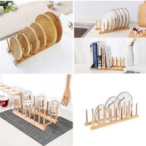 Деревянная полка для посуды, сушилка для посуды, держатель для сушки посуды, подставка для кухонного шкафа, бамбуковый органайзер для пласт...