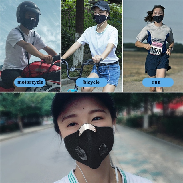 Unisex Black Mouth Masks Anti Dust Reusable PM2.5 Mask Dustproof Outdoor Travel Protection Mouth Cover Antivirus Flu Safety * 2