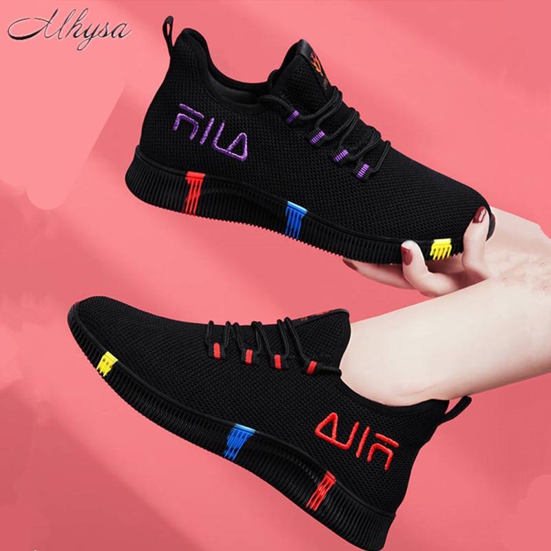 Women Platform Sneakers 2020 New Spring Fashion Women Casual Shoes Breathable Mesh Shoes Woman Black Sneakers Tenis Feminino