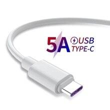 Cavo di ricarica rapida 5A USB tipo C per Samsung S20 S9 S8 Xiaomi Huawei P30 P40 Mate 30 cavo di ricarica per telefono cellulare cavo bianco