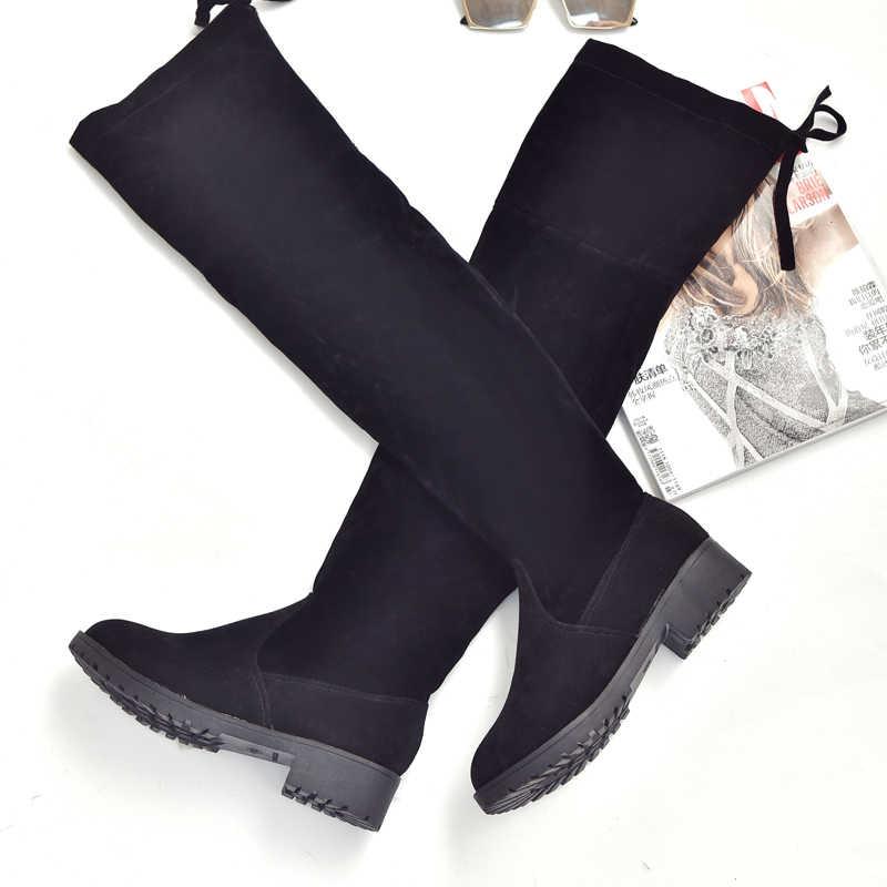2019 ผู้หญิงฤดูใบไม้ร่วงและฤดูหนาวรองเท้าบู๊ตใหม่เข่า Elegant Minimalist Comfort PLUS ผ้าฝ้ายแบบแบน