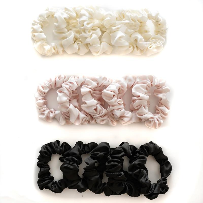 5 pçs conjunto de scrunchies de seda corda de cabelo titular rabo de cavalo anel de cabelo sólido preto branco rosa elástico do cabelo círculo de borracha acessórios da faixa
