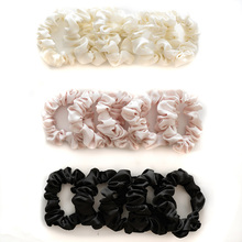 5Pcs Silk Scrunchies Set Hair Rope Ponytail Holder Hair Ring Solid Black White Pink Elastic Hair Circle Rubber Band Accessories