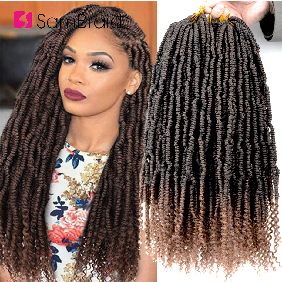 SAMBRAID 18Inch Passion Bpmb Hair Extensions Ombre Synthtic Crochet Braids Hair Fiber Pre looped Fluffy Spring Twists For Women image
