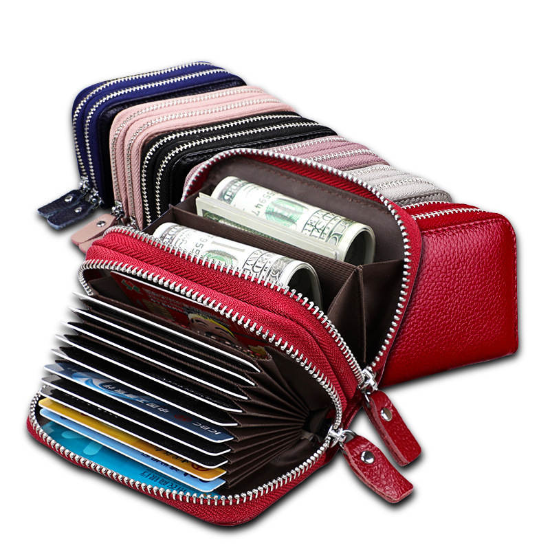 Card Wallet Purse Short Rfid Zipper Small Genuine-Leather Women's Woman for Female