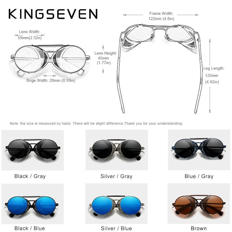 Genuine KINGSEVEN Retro Round Steampunk Sunglasses Men Retro Women Sun Glasses Shades Vintage Travel Eyewear Gafas De Sol 7550 4