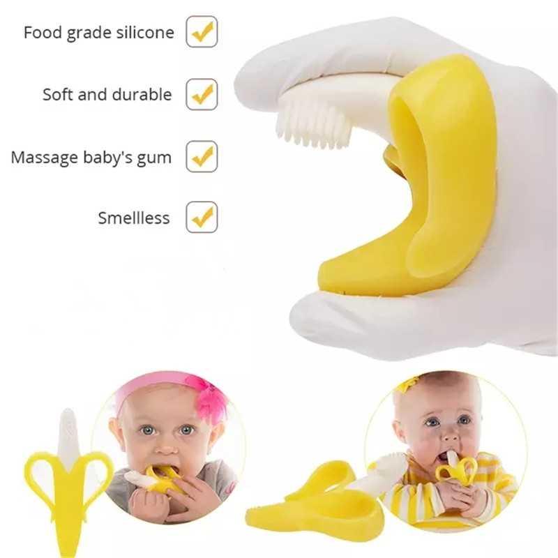 น่ารักเด็กแปรงสีฟันกล่องเด็กฟัน CLEAR นวดซิลิโคนทารกยางทำความสะอาดแปรงนวดชุดเด็ก