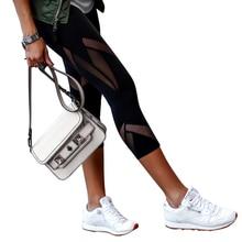 Patchwork Leggings Sport Women Fitness Yoga Pants Gym Lace yoga leggings Mesh Sexy D35