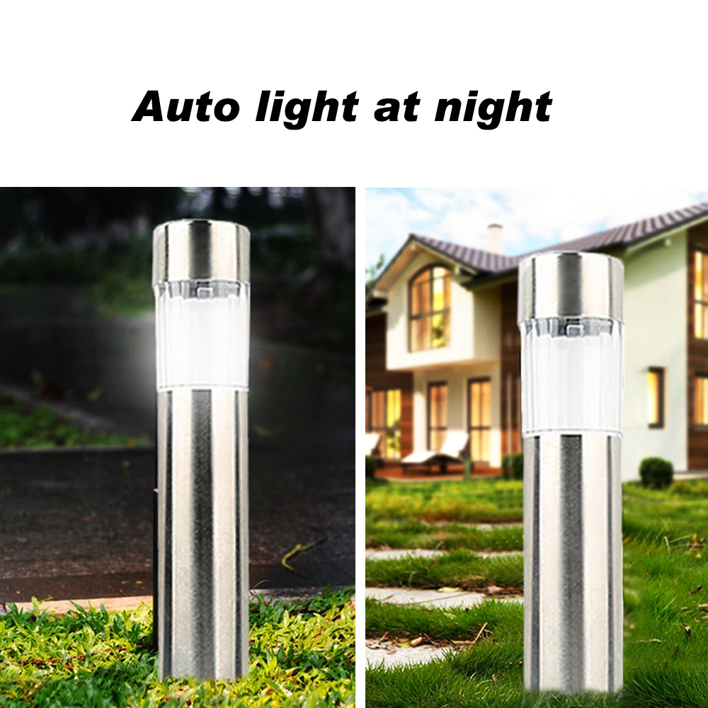 Outdoor LED Solar Lawn Lamp Wireless Stainless Steel Ground Garden Light Waterproof Pathway Lighting For Garden Landscape Patio