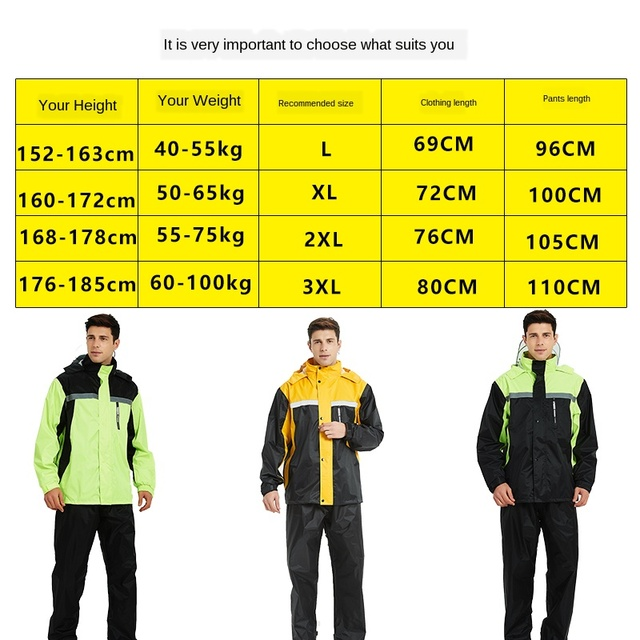 Yellow Raincoat Women Jacket Rain Pants Suit Split Rain Coats Men Motorcycle Poncho Thickened Waterproof Suit for Fishing Gift 5