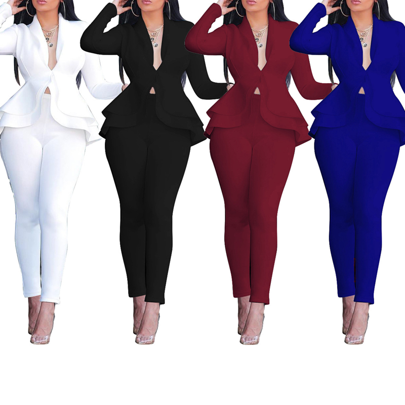 Sexy Two Piece Sets For Women Blue V Neck Long Sleeve Peplum Tops And Full Length Pants Wine Red Black Office Ladies Work Wear
