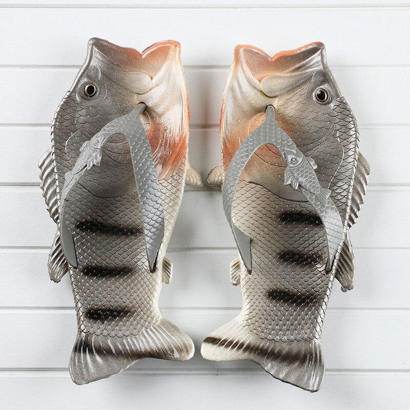 Flip Flops Men's Summer Slippers 2020 New Arrival Fish Slippers Boys Beach Shoes Unisex Outside Slides
