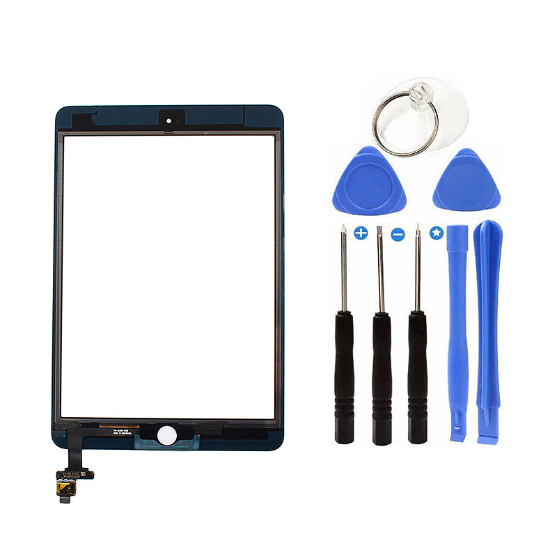 Front Digitizer Glass Press Screen Replacement+Ic Chip With Home Button For Ipad Mini 3 Black