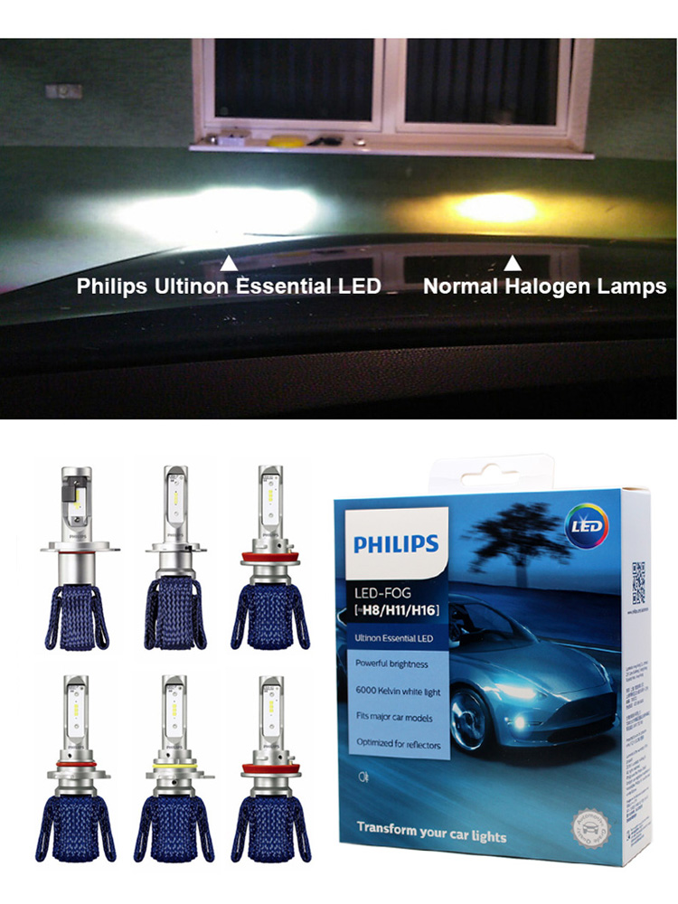 Philips 9012 Headlight Led-Fog-Lamps HB4 H16 Essential 6000K 9003 HB3 9005 H11 9006 H7