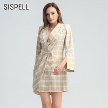 Женское клетчатое платье блейзер sispell элегантное с длинными