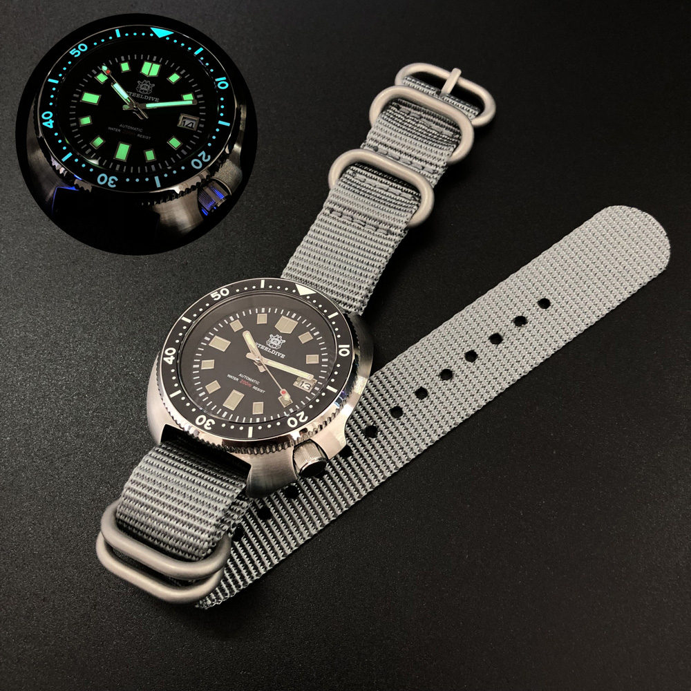 Men Automatic Luxury Watch,STEELDIVE Sport Mens Dive Watches 200m Waterproof Self Wind Mechanical Wristwatch C3 Luminous Clock