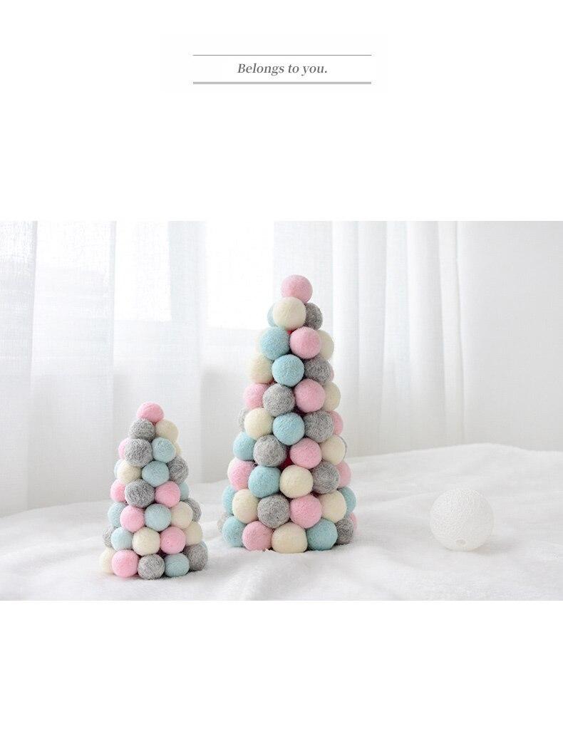 Ins Wool Felt Mini Christmas Tree Decoration Tabletop Decoration Wool Ball String Christmas Wreath Ornament QW246 (5)