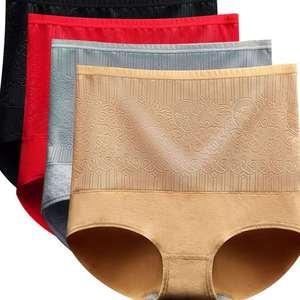 Image 5 - 3 יחידות\מארז תחתוני נשים גבוהה מותן תחתוני כותנה דק Slim מותן נקבה גדול גודל לנשימה בריאות הלבשה תחתונה