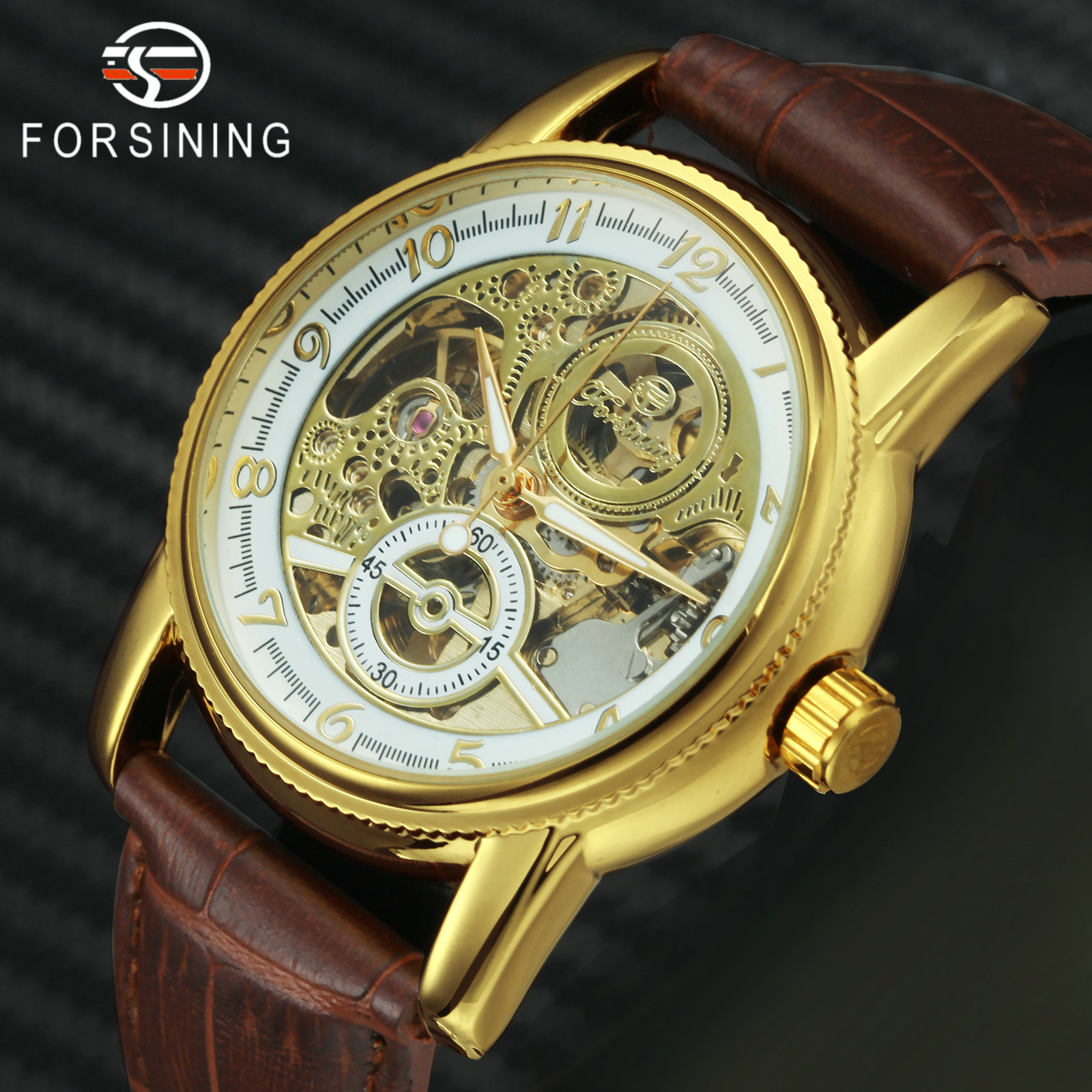 FORSINING Top Brand Luxury Watch Men Retro Dress Auto Mechanical Leather Strap Unique Skeleton Vintage Dress Wristwatches Gift