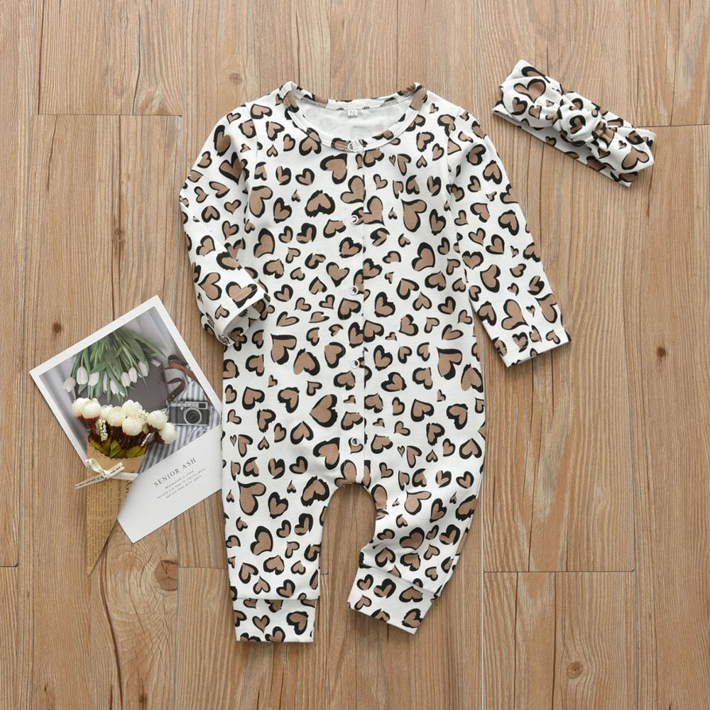 Newborn Clothes Baby Girls Romper Hearts Print Cotton Long Sleeve Jumpsuit and Headband Infant 2Pcs Clothing Set | Happy Baby Mama