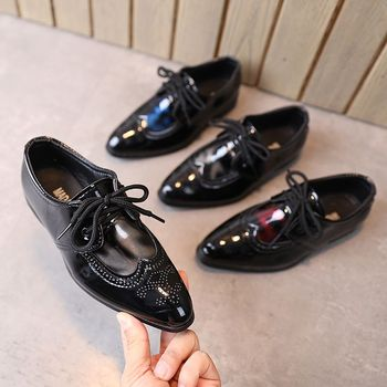 Autumn boys and girls leather shoes solid color soft sole children's performance shoes fashion patent leather dress shoes