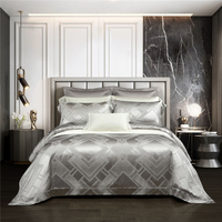 2020 Luxury 50% Silk Jacquard Tencel Bedding Set Smooth Gloss Duvet Cover Sets Bed Sheet Pillowcases King Size 4Pcs