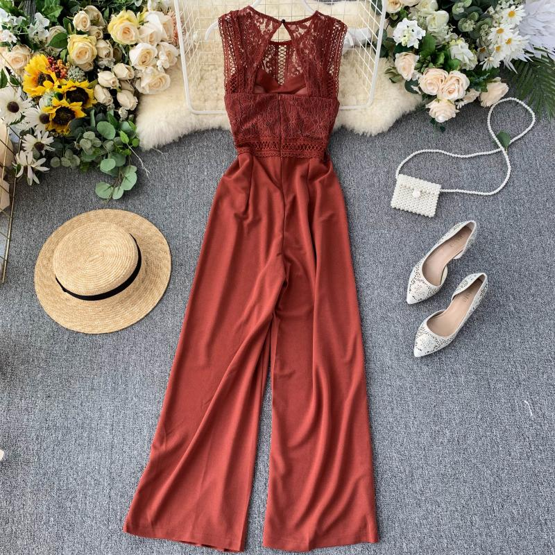 Elegant High Waist Hip Wide Leg Patchwork Lace Hollow Out Sleeveless Jumpsuit 27