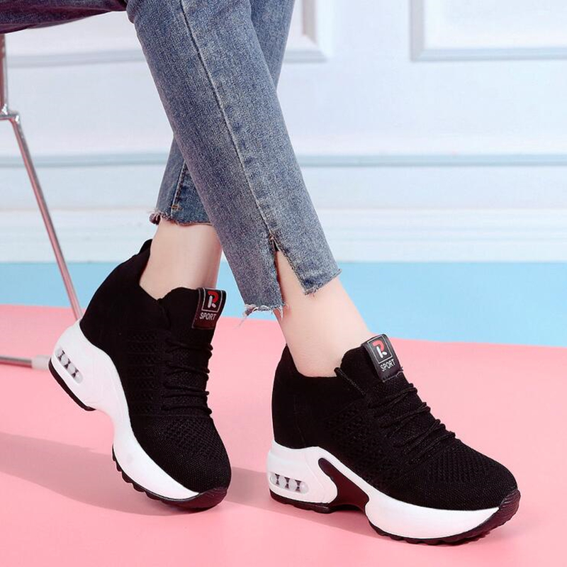 WGZNYN NEW Spring Summer Mesh Platform Sneakers Women Trainers High Heels Wedges Outdoor Shoes Breathable Casual Shoes Woman W55
