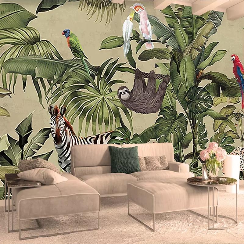 Custom 3D Photo Wallpaper Tropical Rain Forest Bird Palm Leaves Living Room TV Background Wall Mural Non-woven Wallpaper Murals
