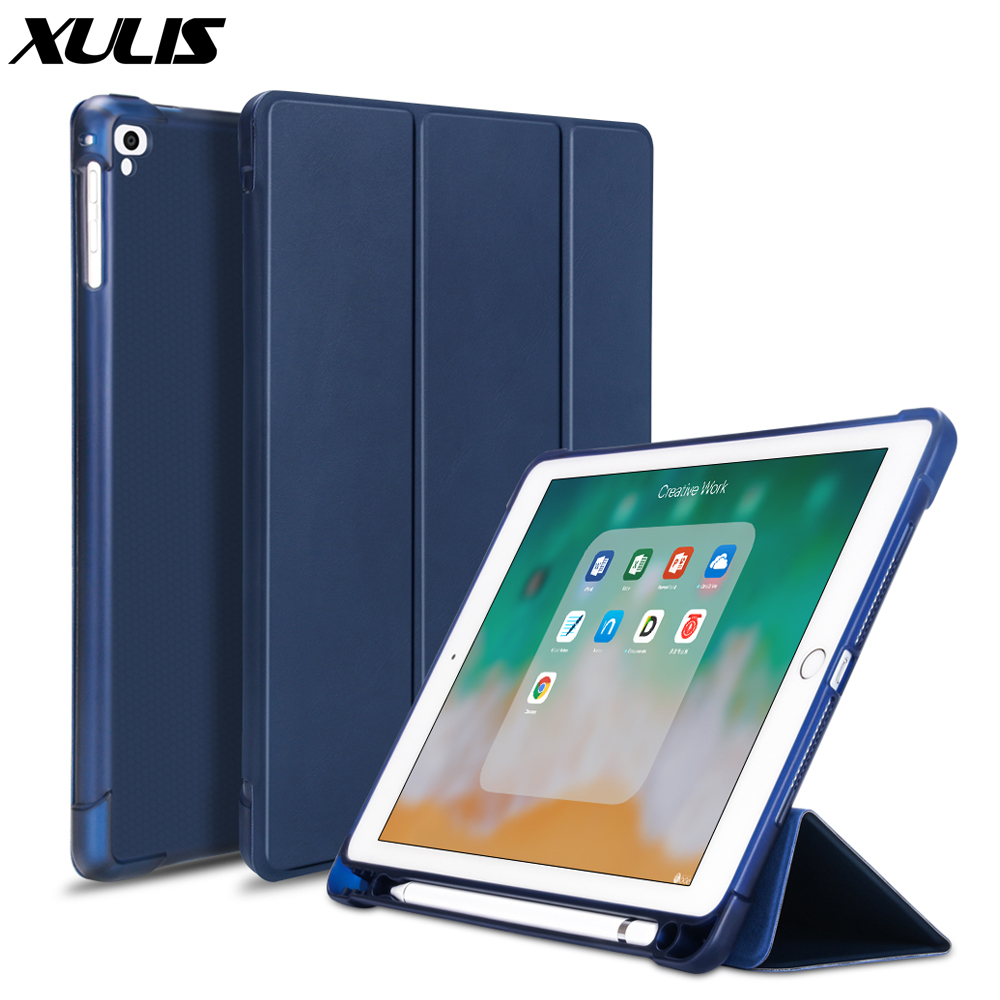 For ipad Pro 9.7 2016 Case A1673 A1674 PU Leather Silicone Smart Cover For ipad 9.7 2018 6th Gen Air 1 2 Case with Pencil Holder(China)