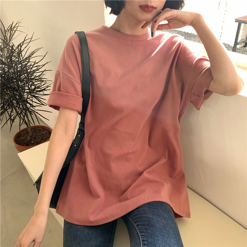 CBAFU 6 Colors Women T-shirts Short Sleeve Casual Loose Bottoming Solid Female Basic Tops Ladies Tee Shirt Summer New P849
