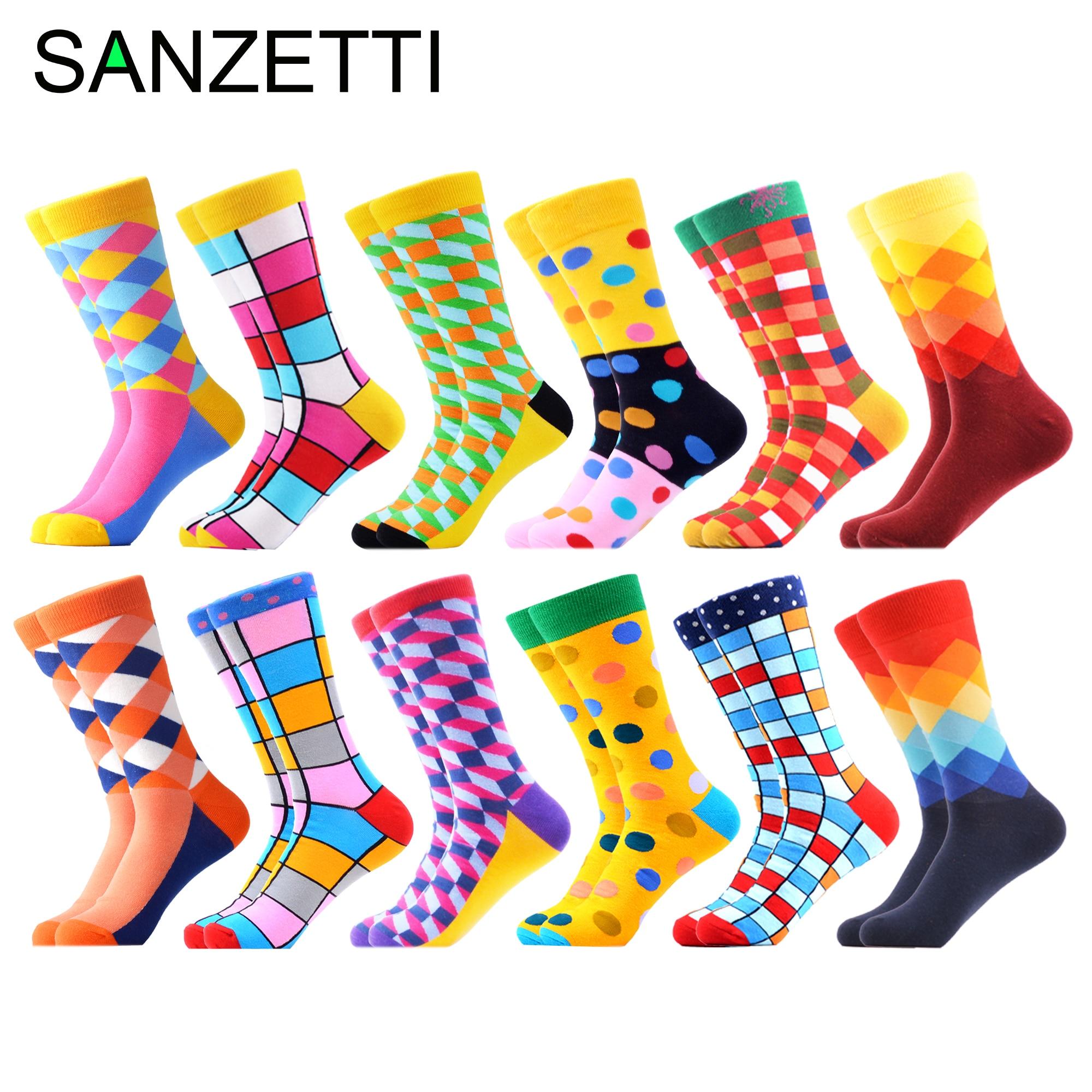 SANZETTI 12 Pairs/Lot Men's Colorful Socks Combed Cotton Socks Wedding Novelty Multi Happy Dress Socks Casual Design Crew Socks