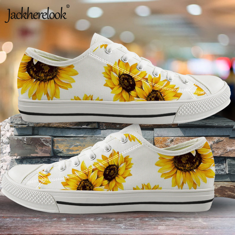Jackherelook 2019 New Sunflower Printing Canvas Shoes Boys Girls Sneakers Outdoor Vulcanized Shoe Low Top Casual Walking Shoes