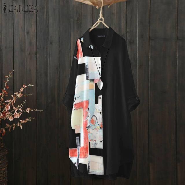 Kaftan  Sleeve Button Down Casual Tunic Plus Size 2