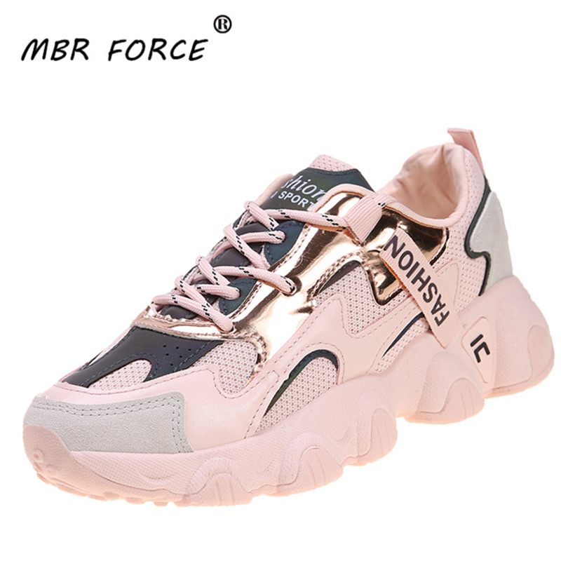 MBR FPRCE 2020 New Leather Shoes Women Sneakers Reflective Design Lace Up Platform Flat Shoes Casual Small White Shoes