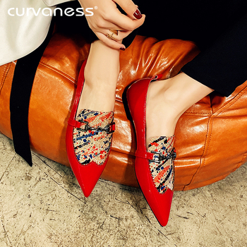 2020 Spring Summer Women Flat Shoes Cow Leather Shoes Woman Slip on Point Toe Loafers Printing Fashion Ladies Shoes 34-42