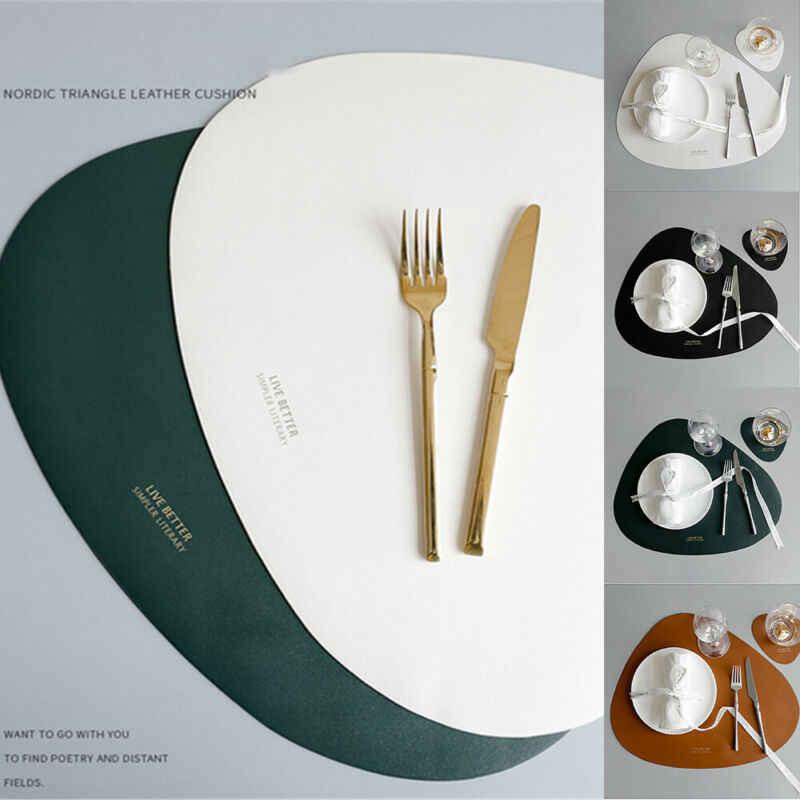 Napperon Table tapis vaisselle Pad PU cuir imperméable isolation thermique antidérapant napperon doux noir brun lavable bol caboteur
