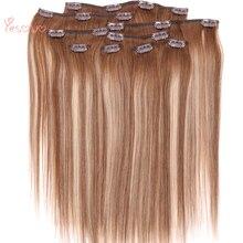 Yesowo перуанские Пряди человеческих волос для наращивания с зажимами прямые волосы для наращивания на всю голову 4/27/4# Волосы remy пряди на клипсах для наращивания