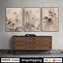 Постеры с чернилами в виде китайского горного пейзажа искусство
