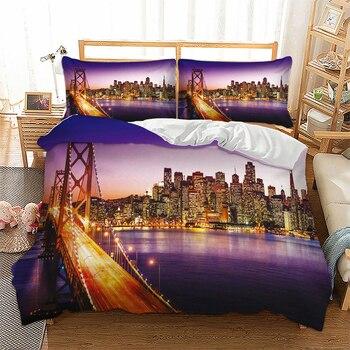 San Francisco  paesaggio di notte set di biancheria da letto  1