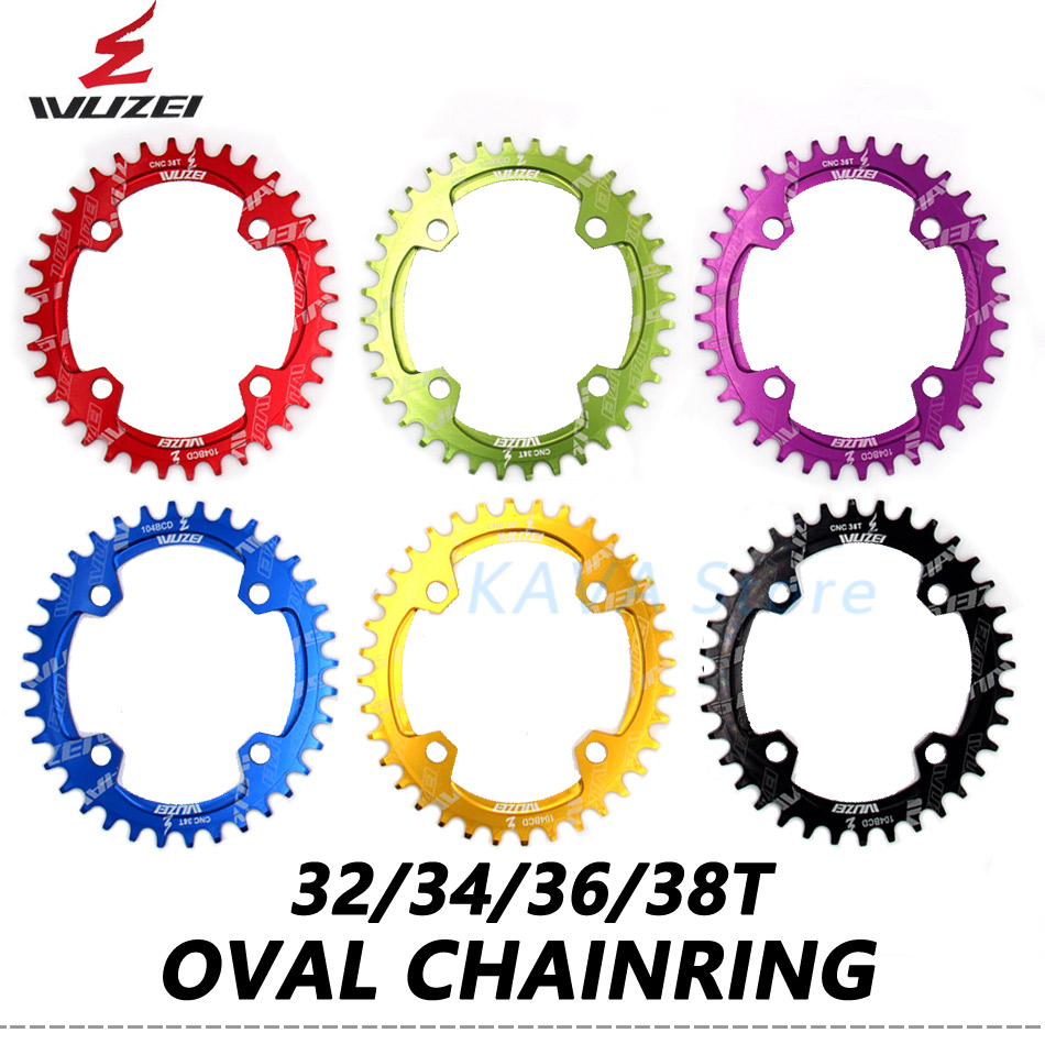 WUZEI Bicycle 104BCD Crank Oval Sprockets 30T/32T/34T/36T/38T MTB bike Narrow Wide Chainwheel Mountain Single Tooth plate Parts