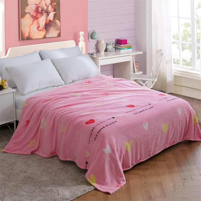 Flannel Coral Blankets Fleece Thickness Anti-Pilling Soft Warm Bedspread Quilt
