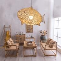 Creative Fish Pendant Lights Hand Woven Rattan Hanging Lamps Restaurant Bedroom Bar Light Fixture Home Teahouse Decoration